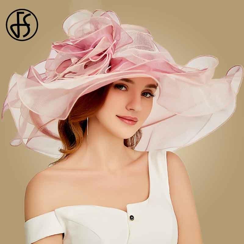 FS 2019 Pink Kentucky Derby Hat For Women Organza Sun Hats Flowers Elegant Summer Large Wide Brim Ladies Wedding Church Fedoras