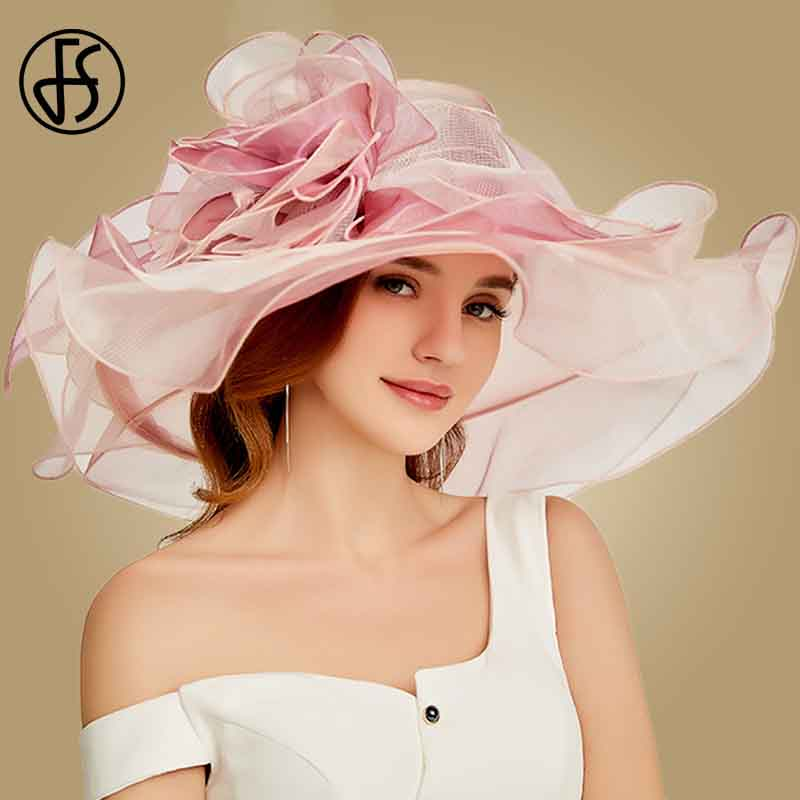 FS 2019 Pink Kentucky Derby Hat For Women Organza Sun Hats With Flowers Elegant Hat Summer Large Wide Brim Ladies Church Fedoras