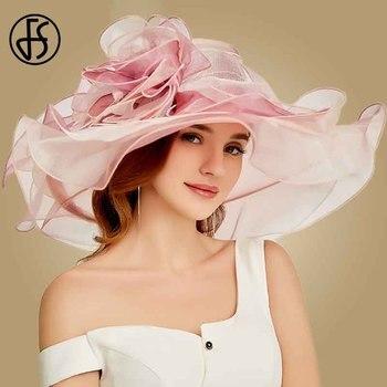 FS 2019 Pink Kentucky Derby sombrero para mujer Organza sombreros de sol flores elegante verano ala ancha señoras boda sombreros para Iglesia