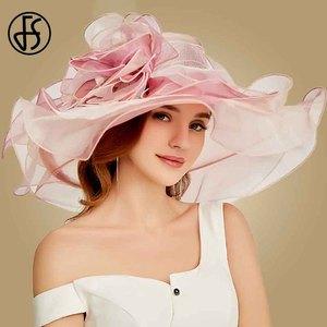 Image 1 - FS 2019 różowy Kentucky Derby kapelusz dla kobiet Organza kapelusze przeciwsłoneczne kwiaty eleganckie lato duże szerokie rondo panie ślub kościół Fedoras
