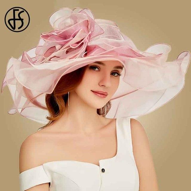 FS 2019 ורוד קנטאקי דרבי כובע לנשים אורגנזה שמש כובעי פרחים אלגנטי קיץ גדול רחב שולי גבירותיי חתונה כנסיית מגבעות לבד