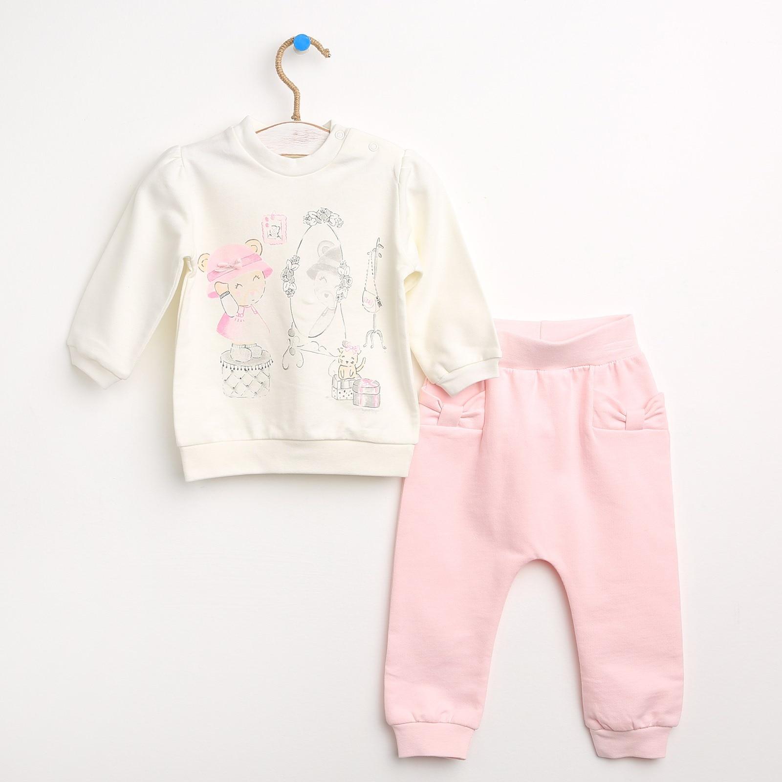 Ebebek HelloBaby Teddy Bär Baby Mädchen Sweatshirt Hosen Eingestellt