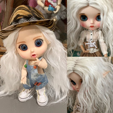 High-temperature Fiber Long White Afro Wavy Doll Wigs for Blyth Pullip Doll with 25cm Head Circumference Finished Doll Hair