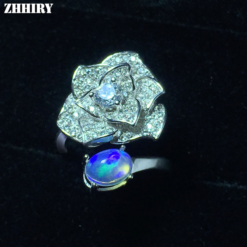 ZHHIRY Genuine Natural Color Opal Ring Solid 925 Sterling Silver For Women Real Gemstone Flower Rings Fine Jewelry все цены