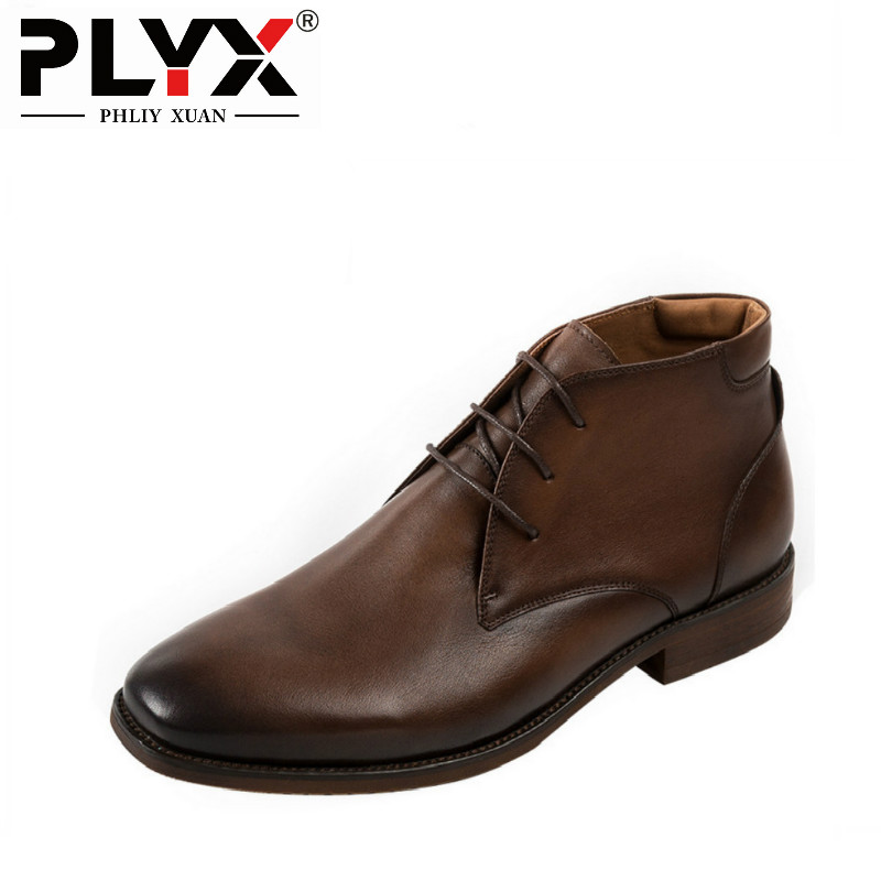 PHLIY XUAN British New 2018 Style Retro Genuine Leather Men Ankle Boots Italy 100% Handmade Bota Snow Tactical Boots serene handmade winter warm socks boots fashion british style leather retro tooling ankle men shoes size38 44 snow male footwear