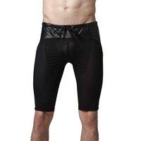 Nueva Llegada Del Verano Del Mens Atractivo Del Sueño Bottoms Malla De Cuero de Imitación de Empalme Pantalones Casuales Hombres Pantalones De Pijama En Casa 2017 de Talla grande