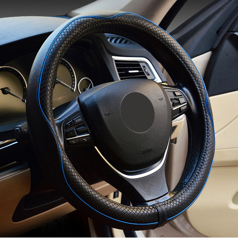 Genuine Leather Car Steering Wheel Cover Anti Slip Four Season M Size Fits Most Car Models Black Red Blue Brown