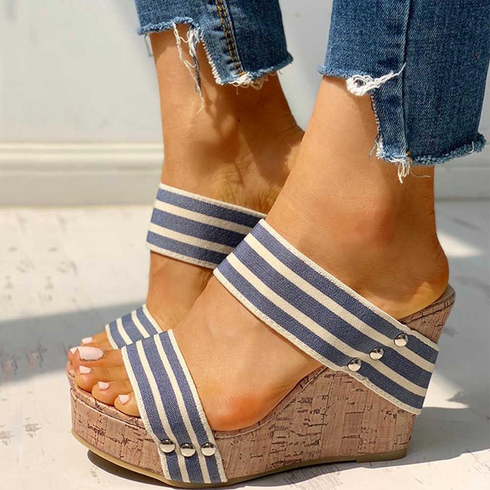 INS พักผ่อนขนาดใหญ่ 43 บนผู้หญิง Wedges รองเท้า 2019 รองเท้าแตะฤดูร้อนผู้หญิงรองเท้าส้นสูงรองเท้าผู้หญิง