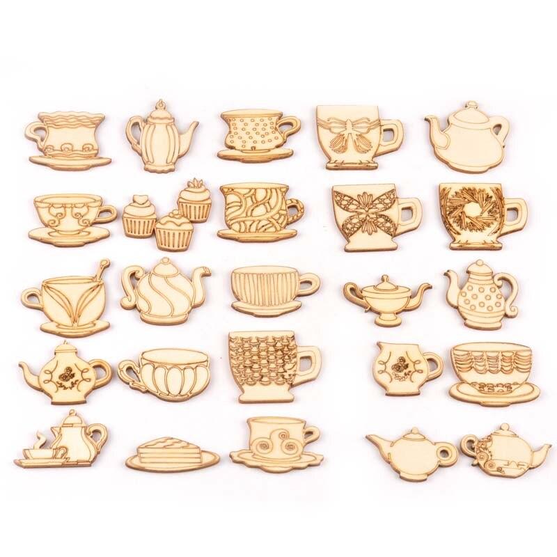 10Pcs Tea Set Teapot/teacup Pattern Wood Slices DIY Handmade Crafts For Wooden Ornaments DIY Home Decor Accessories M2172
