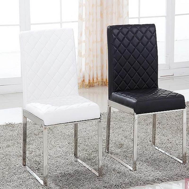 New Fashion Leather Dining Chairliving Room Furniture 100 Stainless Steel Chairred