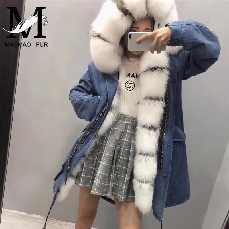 Real Fox Fur Collar Women Long   Parka   Removable Warm Rex Rabbit Animal Fur Lined   Parka   Jacket Natural Fox Fur Skins Jacket