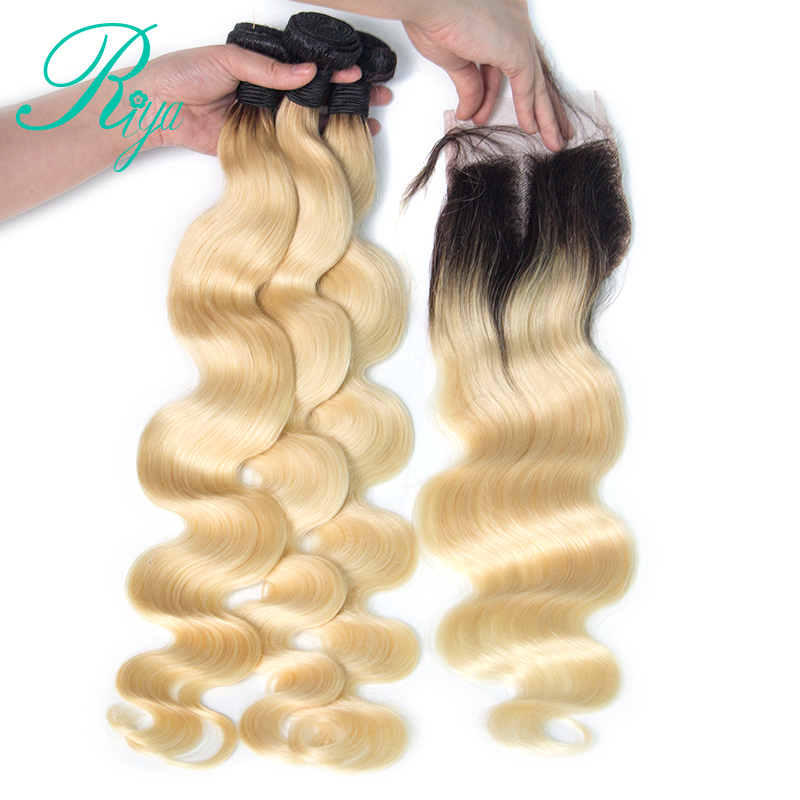 Riya Hair 1B 613 Body Wave Hair 3 / 4 bundles with 4*4 Lace Closure Ombre Brazilian Human Hair Wave Bundles With Closure