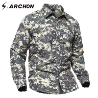 S ARCHON Summer Tactical Removable Camouflage Shirt Men Spring Long Sleeve Detachable Military Shirts Multicam Army
