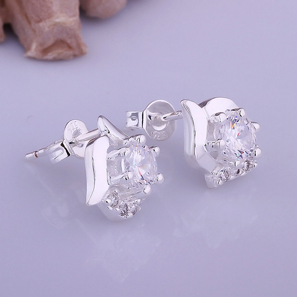 Whole 925 Sterling Silver Earrings Fashion Jewelry Rhinestone Man Made Diamond Stud
