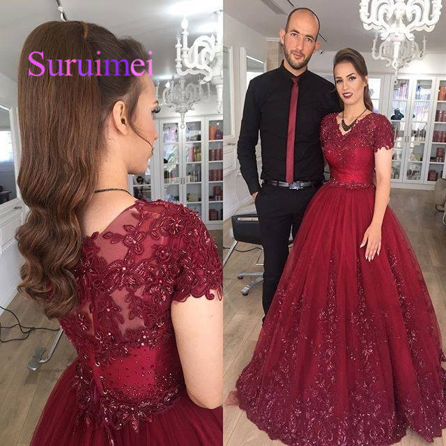 Dark Red Long Modest Prom Dresses 2019 With Short Sleeves Puffy A