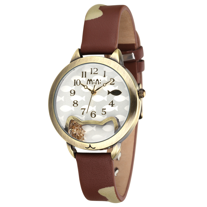 Where is my fish Lovely Childlike Women Casual Fashion Cat Wristwatch Real Leather Crystals Watches Quartz Analog Relojes NW7041 gift watch for girls lovely clay bear childlike wrist watch imported japan quartz children real leather cartoon relojes nw7052