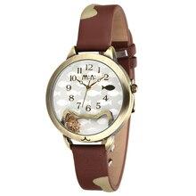¿ Dónde está mi pescado Encantadora Infantil de Las Mujeres Gato de La Manera Ocasional Reloj de Pulsera de Cuero Real Cristales de Relojes de Cuarzo Relojes Analógicos NW7041