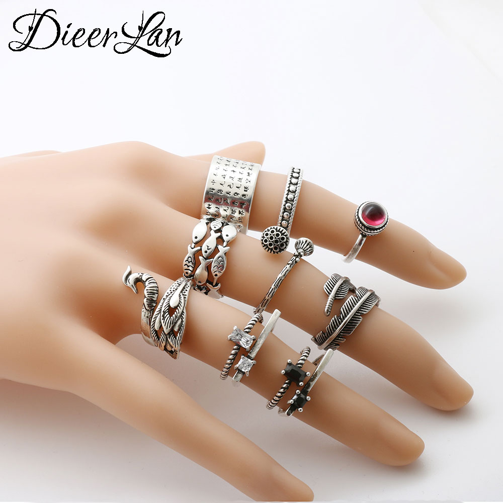2017 New Arrivals 925 Sterling Silver Fish Feather Peacock Lotus Rings for Women Boho Beach Vintage Turkish Punk Knuckle Ring