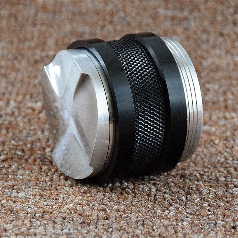 Double Coffee Tamper ,Multifunction Aluminum Tamper 58mm Convex Base Adjustable Four Leaves Powder Hammer Espresso Tamper