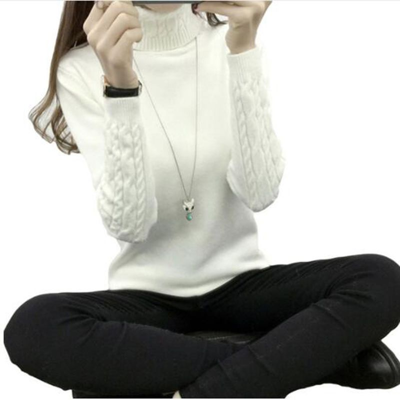 Autumn 2019 Women Sweaters Pullovers Knitted Turtleneck Sweater Poncho Female Tops Pull Femme White Beige Green Black Gray Brown