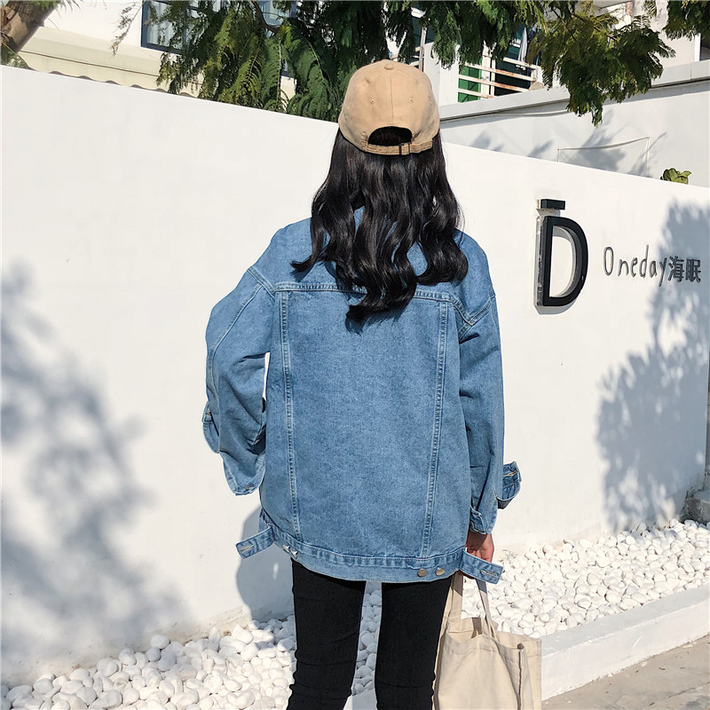 RUGOD Solid Turn down Collar Jean Jacket for Women Loose Casual Blue Fashionable Women Coats Female