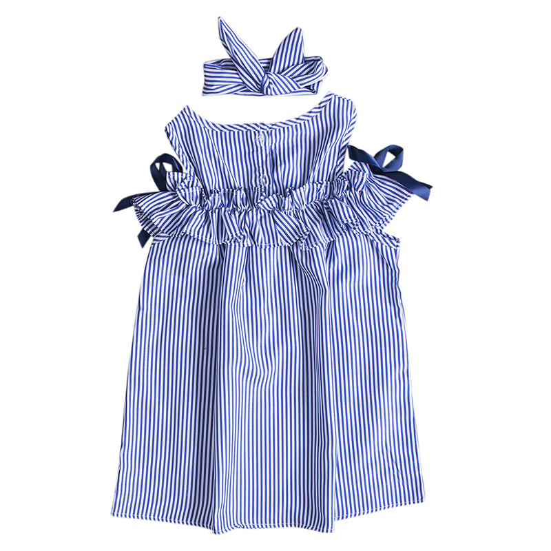 Toddler Kids Baby Girls Dress Summer Clothes Striped Off-shoulder Party Gown Formal Dress Bow Headband 1