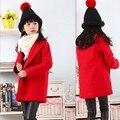 Новый Год Зима Девушки Шерстяные Пальто Европа Ватные Воротник Костюм Утолщенной Двойной Грудью Пальто Детей Kids Clothing Красный