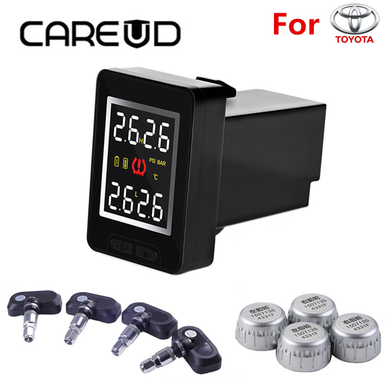 Shop1859798 Store CAREUD U912 Car Wireless Auto Alarm TPMS Tire Pressure Monitoring System with 4 Sensors LCD Display Embedded Monitor for Toyota