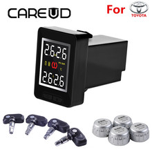 CAREUD U912 TPMS Tire Pressure Monitoring System Car Wireless Alarm Auto with 4 Sensors LCD Display Embedded Monitor for Toyota