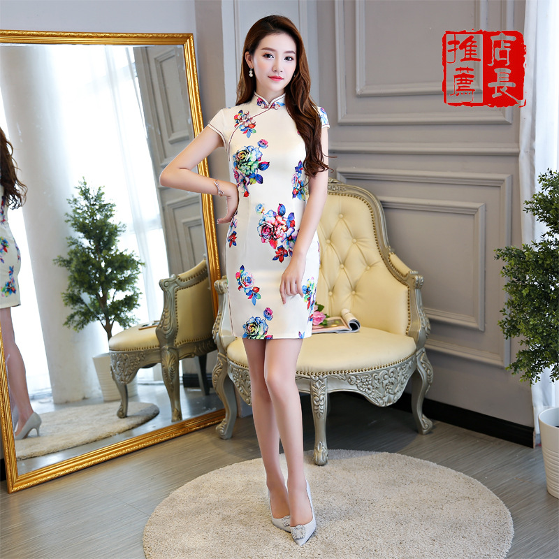 Chinese Traditional Mini Cheongsam Women Silk Satin Short Dress Dance Party Costume in Cheongsams from Novelty Special Use