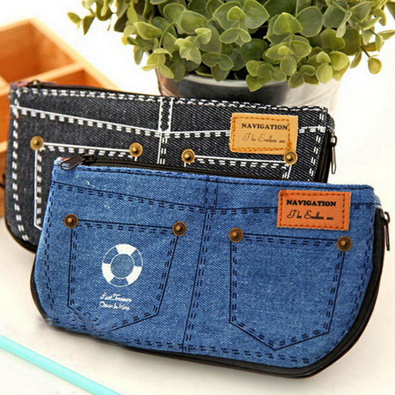Denim Shorts Big Capacity Pencil Case Canvas Home Storage Cosmetic Bags School Pen Bag  Popular