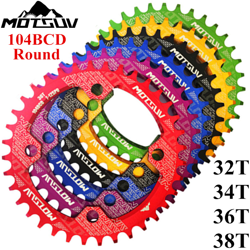 MTB Bicycle Round Shape Narrow Wide Chainwheel 32T/34T/36T/38T 104BCD Chain ring Bike Circle Crankset Single Plate Bicycle Parts