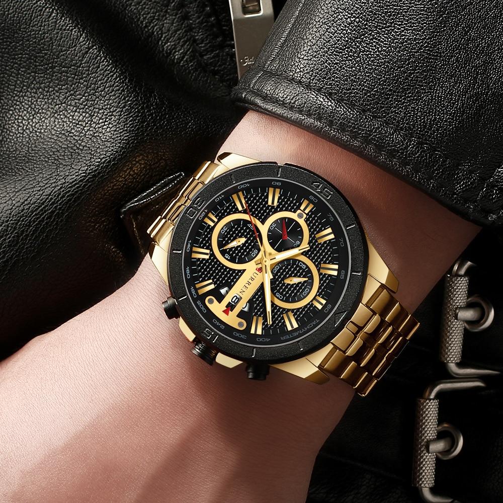 HTB1pwbIXLBj uVjSZFpq6A0SXXas CURREN Business Men Watch Luxury Brand Stainless Steel Wrist Watch Chronograph Army Military Quartz Watches Relogio Masculino