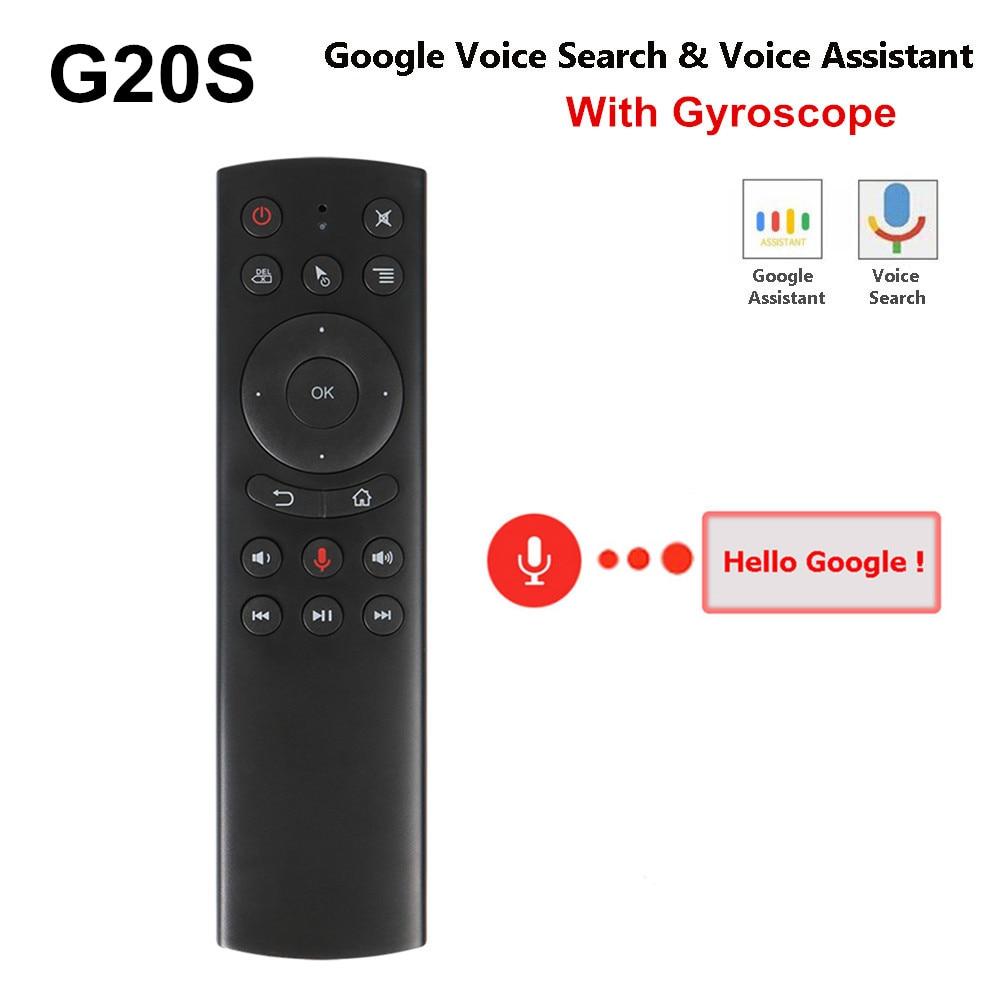 Nuevo G20S Control de voz 2,4G inalámbrico Fly Air Mouse teclado detección de movimiento Mini Control remoto IR LearningFor Android TV caja de la PC
