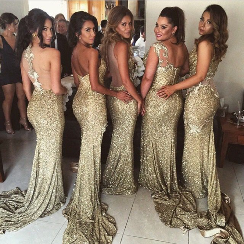 Sexy 6 Styles sirène or robes de demoiselle d'honneur Unique dos nu différent décolleté élégant robes de bal pour la fête de mariage - 2