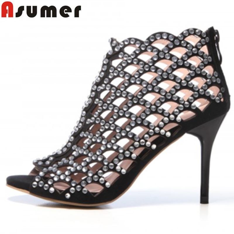 Asumer new women pumps black brand genuine leather shoes woman high heels cut outs summer sandals punk sexy party wedding shoes 2018 summer new genuine leather women slippers sexy cut outs high heels shoes fashion slides natural leather sandals for women