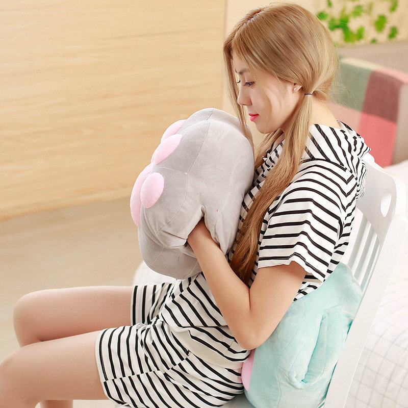 Cute winter hand warm pillow blanket Cartoon soft cushion plush foot plush toys 1 piece тонер black