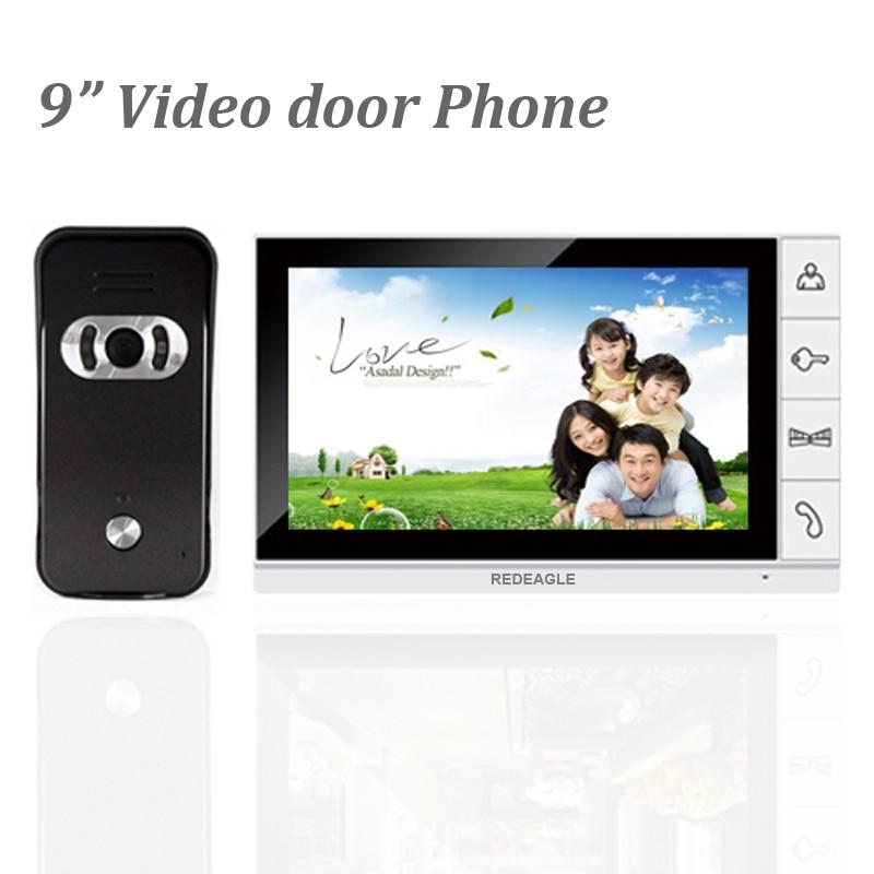 Wired 9 Inch Big Screen Monitor Video Door Phone Doorbell Intercom System 940nm Night Vision Speakerphone Camera