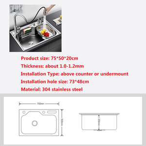 Image 2 - kitchen sink above counter or udermount sinks vegetable washing basin stainless steel single bowl 1.2mm thickness sinks kitchen