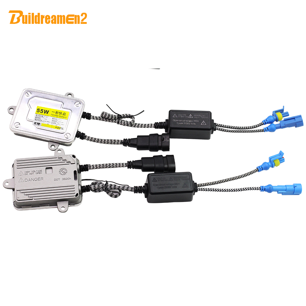 Buildreamen2 55W AC HID Xenon Ballast 12V Digital Ballast Block Ignition Replacement Car All Xenon Bulb H1 H3 H4 H7 H8 H11 9005