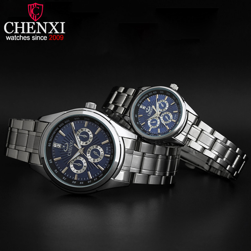 CHENXI Brand Classic Romantic Stainless Steel Couple Watch  Fashion Luxury Gift Clock Silver Quartz Lover Watches Relogios Casal xiniu fashion men women watches luxury brand full stainless steel quartz wrist watch couple lover watches relogios clock 2018