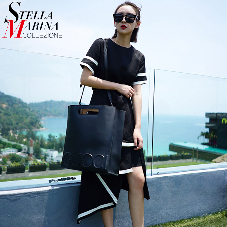 Nuevo  mujeres del verano negro dress ruffled hem patchwork sashes natural plisa