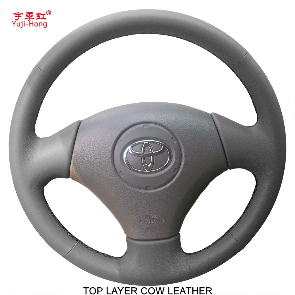 Yuji Hong Car Steering Wheel Covers Case for Toyota Vios 2004 2006 Genuine Leather Top Layer