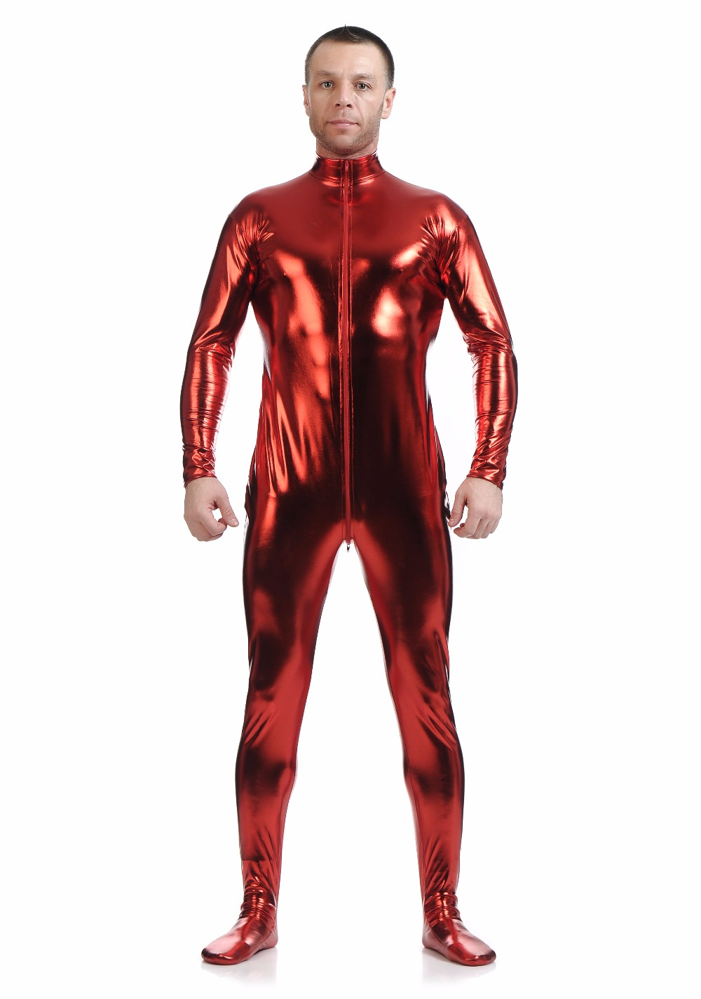 Adult Metallic Full Body Zentai Suit Men Lycra Bodysuits Spandex Catsuits Shiny Crotch Zipper Zentai Body Suits