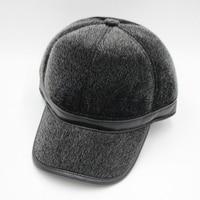 HARPPIHOP FUR Genuine leather mink hair hat male cap baseball cap winter warm hat ear belt