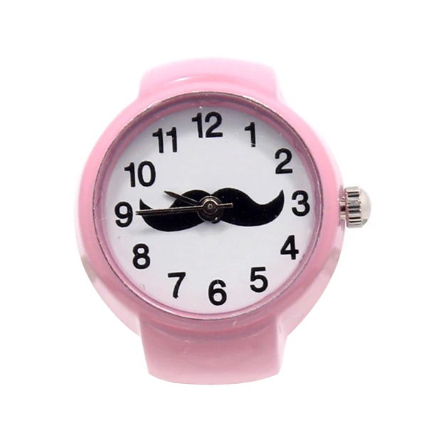 Cute Girl Ring Watch Round Elastic Quartz Finger Ring Watch Cute Beard Pattern Dial Jewelry Gifts For Women Lady  LL@17