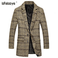 2016  Autumn New Arrival Mens single-breasted Medium-Long Trench Coat Sleeves Slim Fit Style Trench Coat Plus Size M-5XL   F14