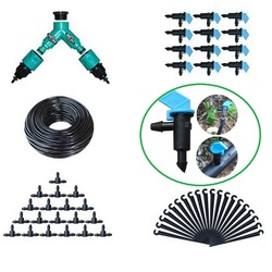 40m 4/7mm Garden Hose 30pcs Flag Drippers Emitter Home Garden Bonsai Flower Seeds Micro Irrigation Systems Kits