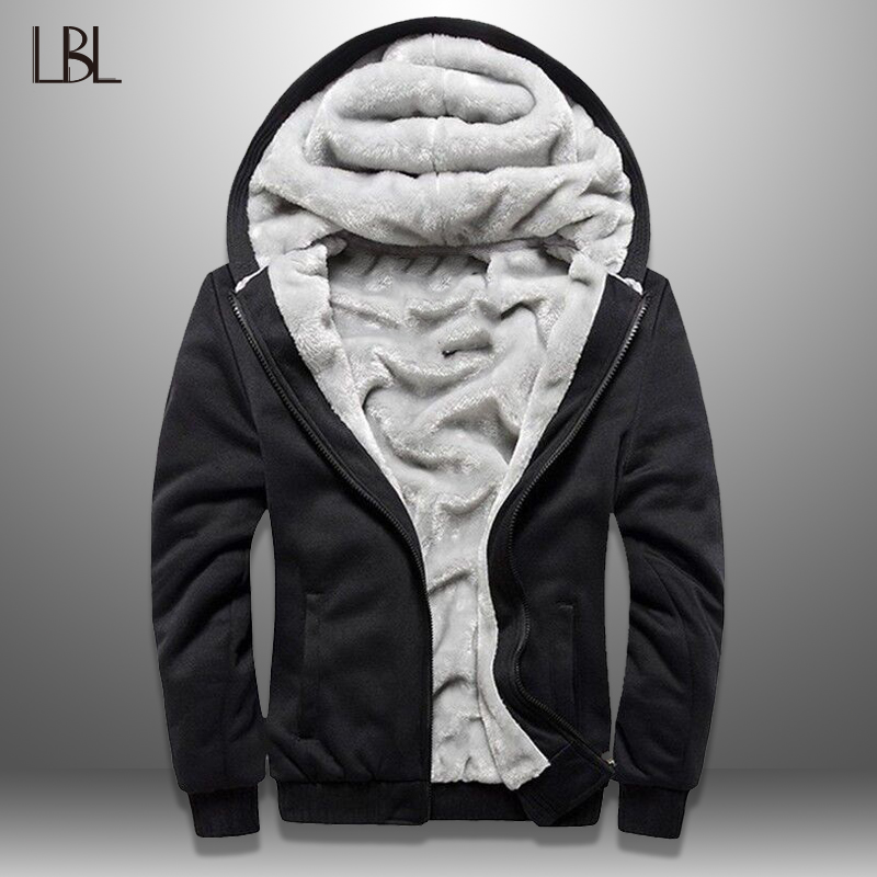 LBL Winter Mens Fleece Jacket Thick Solid Bomber Jackets Men Slim Fit Hooded Coat Man Autumn Warm Tracksuit New Men's Sportswear