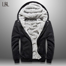 LBL Winter Mens Fleece Jacket Thick Solid Bomber Jackets Men